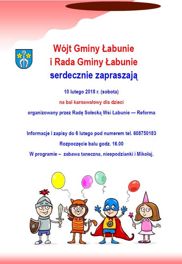 Urząd Gminy łabunie Bal Karnawałowy Dla Dzieci Zaproszenie